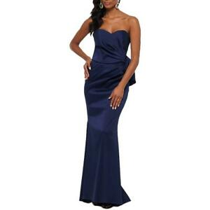Xscape Womens Navy Bow Full-Length Formal Evening Dress Gown 10  4423