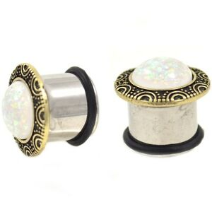 """PAIR -  FRAMED SYNTHETIC WHITE OPAL EAR PLUGS SINGLE FLARED GAUGES (2g-5/8"""")"""