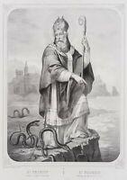 Darst. des Hlg Patrick, St. Patrick, Bischof von Irland, 19.Jh., Lithographie