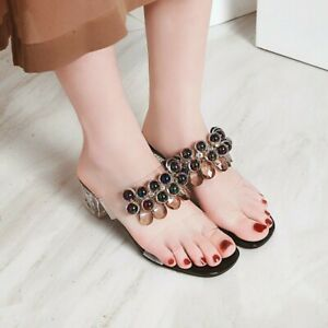 Women Peep Toe Med Crystal Heel Slingback Slipper Transparent Shoes Summer Date