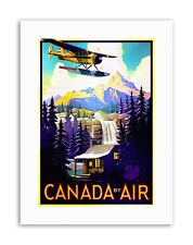 CANADA AIR PLANE FOREST MOUNTAIN Poster Travel Sport Canvas art Prints