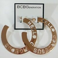 BCBGeneration Hello Gorgeous Cut Out Hoop Earrings Rosegold Tone