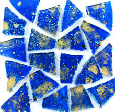 100 pieces of Royal Blue with Metallic Gold Premium Glitter Glass Mosaic Tiles