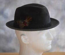 Men's STETSON Sz 7-1/8 (M) Charcoal Gray Plush Fedora Hat Braided Band Feather