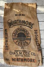 Wirthmore Feeds Seed Bag Chas M Cox Boston Mass 100 Lbs