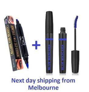 Blue Mascara & Liquid Eyeliner Cat Eye Stamp Set Smudge-proof Curling Waterproof