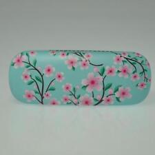 Blossom Flower Hard Reading Glasses Case Dark Pink Aqua Blue Green Spectacle Box