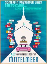 Israel Car Ferries Vintage Travel Advertisement Art Poster Print