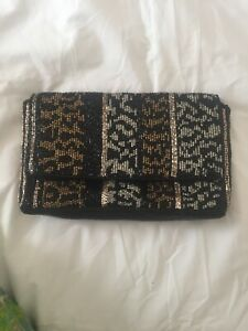 Accessorize Beaded Embroidered Clutch Bag With Chain