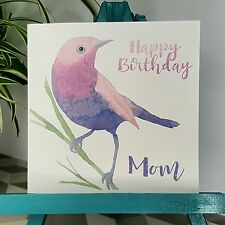 PERSONALISED Handmade Birthday Bird Watercolour Nan Mom Sister Any name Card