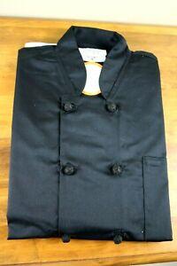 NEW Happy Chef Coat Uniform Shirt Medium Black Long Sleeve W/ Buttons - NWT