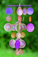 Capiz Windspiel bunt  lila grün orange Perlmutt H50cm, Muschel Windspiel, Mobile