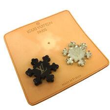 Auth LOUIS VUITTON Snow Crystal Motif Pin Brooch Set Plastic Accessories 07P882