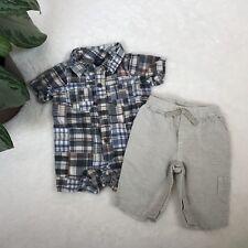 BabyGap 0-3 Months Baby Boys Bundle Plaid Romper and Linen Pants