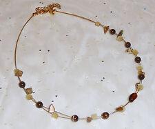 "Lia Sophia LS Goldtone Jasper Chips Glass Cats Eye Butterscotch Necklace 16-19"""
