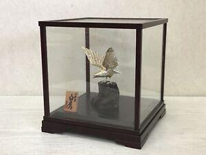 Y1662 OKIMONO Sterling Silver Hawk figure glass case Japanese antique vintage