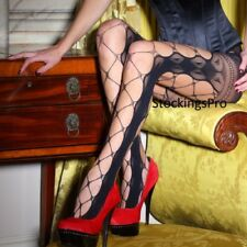 Couture Vixen Wide Lace Fishnet Tights Medium New Silky