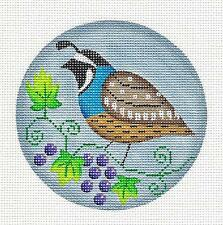*NEW*  Quail for the Month of August HP Needlepoint Canvas by Rebecca Wood