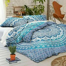 Indian Blue Ombre Mandala 100% Cotton Quilt Duvet Cover King Bohemian Bedding St