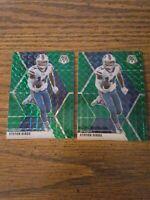 Stefon Diggs 2020 two Green Prizm Panini Mosaic Football Card No. 34 2 card lot
