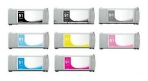 8 Tinte für HP Designjet Z6100 komp. zu Nr. 91 C9464A C9465A -C9471A Cartridge