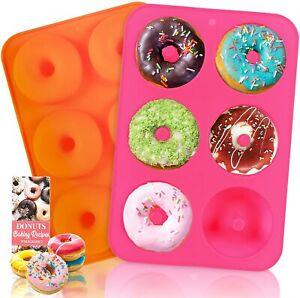 HEHALI Silicone Donut Pan, 2pcs Non-Stick Mold, Mold for 6...