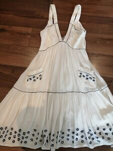 ALICE MCCALL net-a-porter rayon DRESS sz 10 s beach party summer embroidered