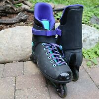 VTG 1988 Rollerblades Original Lightning Mens Size 13 Black Purple Turquoise