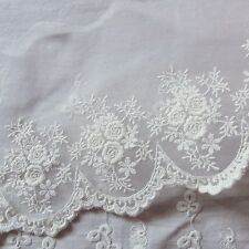 Vintage Style Embriedered Tulle Lace Trim  Fabric Beautiful Flower 13cm Wide 1yd
