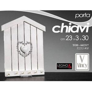 Vetrineinrete/® Cassetta Portachiavi in Legno 3 Ganci a Forma di casetta appendichiavi per decoupage Scatola Porta Chiavi C38