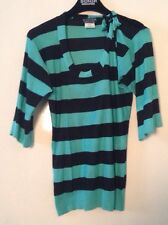 Sonia By Sonia Rykiel Silk Green And Black Stripe Knit Top Size Medium