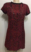 Pre Owned Zara Woman Red Leopard Print Short Sleeve Zip Up Woman Dress Sz Medium