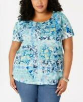 Style & Co Womens Ladies Blue Floral Short Sleeve Scoop Neck Top Size 1X