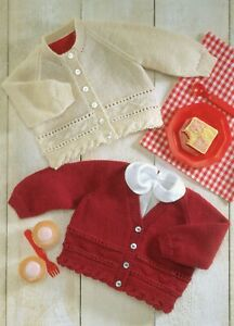 Baby 4 PLY  Knitting Pattern  Cardigan V- and Round  Neck Sizes 16-26 inches #86