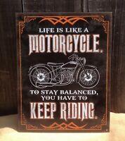 Life Like Motorcycle Keep Riding Vintage Sign Tin Metal Wall Garage Rustic Old
