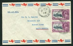 1935 Silver Jubilee Trinidad & Tobago 2 x 24c on commercial cover to Argentina