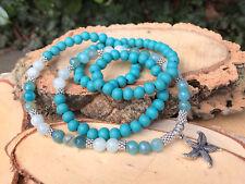 Mala Kette 108 Perlen Seestern Holz Jade Achat Gebetskette Seestern Kette