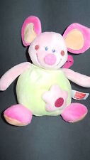 doudou peluche musical souris rose vert INFLUX CORA 17cm