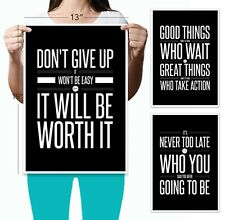 Don't Give Up 3 Poster Set (13 x 19) Motivational Inspirational Quote Wall