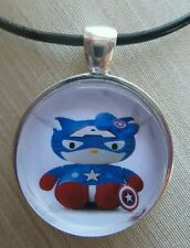 "Hello Kitty "" CAPTAIN AMERICA "" Glass Pendant with Leather Necklace!"