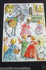 Vintage Unused German Glitter Xmas Advent Calendar Greeting Card Sweet Angels