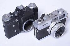 ZENIT E BLACK M42 100% WORKING AND A CANON CANONET 28 NEEDS REPAIR.