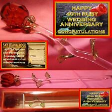 40TH RUBY WEDDING  ANNIVERSARY RED GLASS ROSE PARTY GIFT KEEPSAKE PRESENT CARD