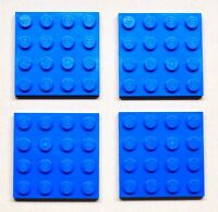 x4 NEW Lego Blue Plates 4x4 Brick Building Blue Baseplates