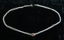 Antique Victorian No Heat Ruby Slide Natural Seed Pearl Chain