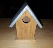 New Natural Wood Bird House With Metal Roof L 3 3/4 x W 4 3/4 x H 5 1/2 Inches