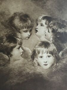 ANTIQUE PRINT 1901 HEADS OF ANGELS BY SIR JOSHUA REYNOLDS CHILDREN RELIGION ART