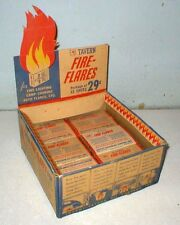 Mobil Tavern Brand Fire Flares Display Box W/ Product Old Station Stock Sign