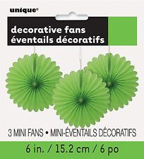 3 x Lime Green paper fans hanging decorations Easter Party Wedding St Patricks