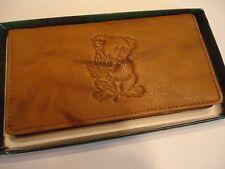 Koala Bear Genuine Leather Checkbook Wallet,Tan
